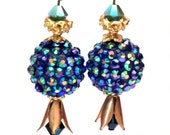 Teal blue, turquoise and gold faceted earrings - Raw brass tulips