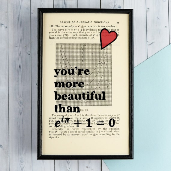 Euler's Identity - Romantic Geek Art - Framed Vintage Book Page - Geeky Gift - Romantic Gift - Book Lover - You're more beautiful than...
