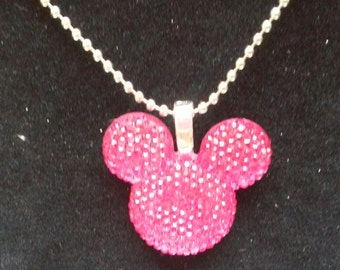 Mouse Ears Necklace, Blue Mouse Ears Necklace, Pink Mouse Ears Necklace