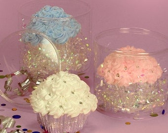 Single Cupcake Holder Round Clear Plastic - 24