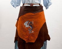 Brown leather battle skirt apron steampunk wyvern embroidery larp fantasy fair costume mechanic armor warcraft cosplay gnome dwarf clothing