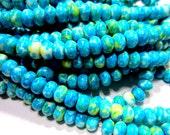White jade beads dyed turquoise green gemstone 1 strand apx.48 beads  8mm jade beads ronQ718-B7