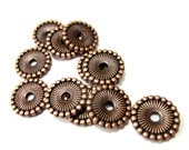 36 Copper spacer Beads  flat round disc jewelry making supply  nickel free lead free F9286-W-4