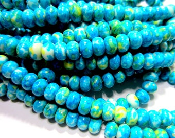 White jade beads dyed turquoise green gemstone 48 beads  8mm jade beads ronQ718(-B7)