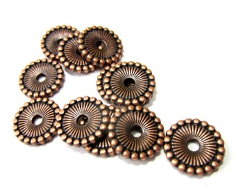 10mm Copper spacer Beads 36   flat round disc jewelry making supply  nickel free lead free F9286 SR6-3