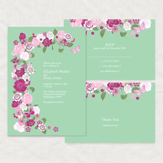 printable diy wedding invitation template - download - rose garden mint, budget friendly bridal shower, birthday, baby girl, floral flowers