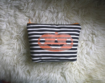 Handmade Halloween Makeup Pouch in Black and White Stripe