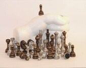 32 Pewter Chess Pieces for Creating Various Art Projects