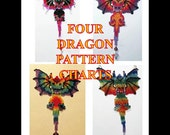 Four Alternate Beaded Dragon Pattern Charts INSTANT DOWNLOAD