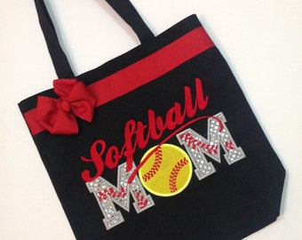 Personalized Tote Bag, Personalized Tote, Softball Mom Tote Bag, Softball Tote, Softball Gift, Personalized softball, Proud mom, Softball