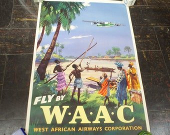 Rare 1940s WAAC West African Airline Travel Poster
