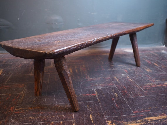 antique primitive natural wooden bench seat