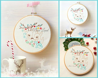 Xmas Deers in love. Embroidery pattern. PDF.