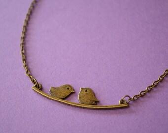 Birds on a Wire Necklace Antique Bronze Birdies Love Birds (AB10)