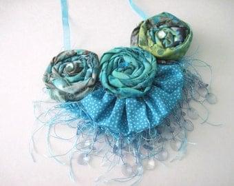 Blue Green Batik Fabric  Floral Statement Necklace Summer Fringe Necklace