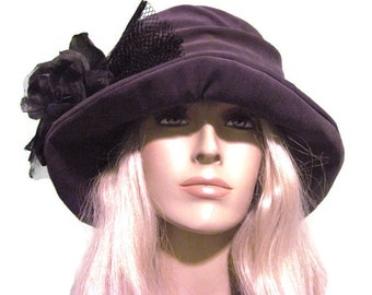 Purple Velvet  Cloche Hat Womens Tea Derby Fashion Winter