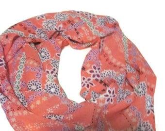 Coral Floral Silky Print Infinity Loop Circle Scarf
