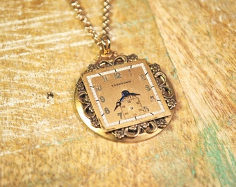 Steampunk Jewelry Vintage Necklace Watch Dial Pendant Necklace by Steampunk Vintage Design