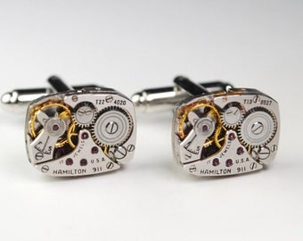 Steampunk Cufflinks HAMILTON 911 Ruby Jewel Watch Movement Cuff Links - Great for Wedding Gift - Fathers Day - Anniversaries
