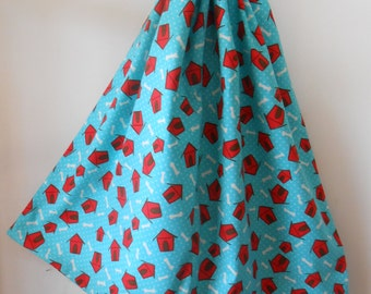 Jumbo Cotton Drawstring Library Book Bag, Laundry Bag, Aqua Blue and Red Dog House and Bone, Made in Australia