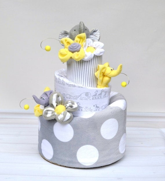 Neutral Elephant Baby Shower,  Gray Elephant Shower, Elephant Diaper Cake, Yellow Elephant Shower, Gender Neutral Baby Gift, Yellow and Gray