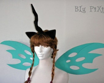 Queen Chrysalis Set (Changeling Wings, Ears, Horn) My Little Pony Halloween Costume, Kids and Adult Brony Cons Cosplay Accessories