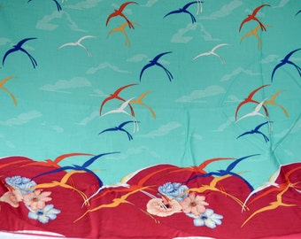 Vintage Border Fabric - Deco Style Swallow Birds - By The Yard