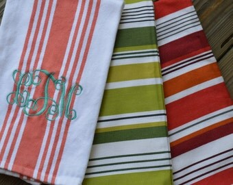 Stripe Monogram Kitchen Towel (Coral, Red/Orange, or Green)