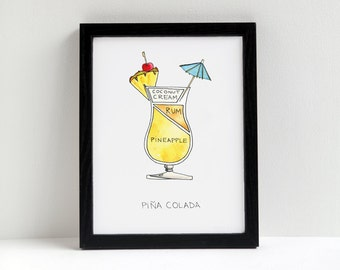 Cocktail Diagram Print - Pina Colada