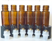 6 Essential Oil Roll On Glass Bottles 10ml (1/3oz) - Six Pieces Brand New - Read Full Description for Details