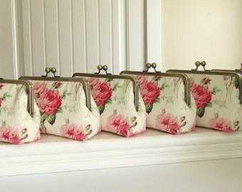 Sale 20% Off,Bare Foot Roses Clutch Set Of 6,Bridal Accessories,Bridal Clutch,Bridesmaid Clutch,Floral Clutch,Wedding Clutch