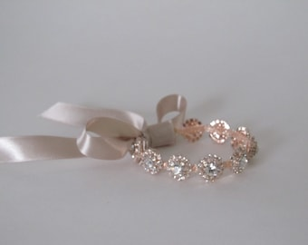 Rose Gold Rhinestone Bridal Cuff,Wedding Accessories, Bracelet,Crystal Bridal Bracelet,#B23