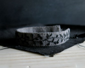 Hand Embroidered Cuff Bracelet - Black Vine on Dark Grey Linen  - Wearable Textile Art - Fabric Cuff  - Handmade Jewelry by Sidereal