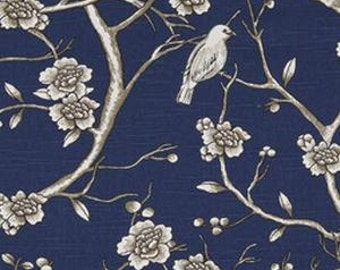 Pair of designer curtain panels or pillow shams, Dwell studio vintage Blossom Twilight navy blue