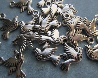 Clearance, Discontinued, LOT of Four peace dove charms,peace doves, doves, peace