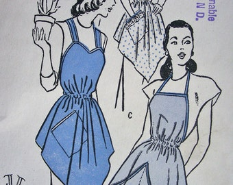 Vintage Butterick  Sewing Pattern 4684 -  Misses' One Yard Aprons in Two Styles *  One Size * FACTORY FOLDED