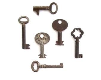 6 Vintage skeleton keys Antique skeleton keys Old skeleton keys 6 skeleton keys Skelton keys Instant collection Brass tag Key variety bit 6T