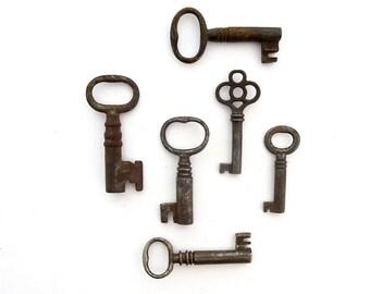 6 skeleton keys antique skeleton keys old skeleton keys, old rustic keys primitive keys jewelry keys skelton key bargain skeleton keys bit 4