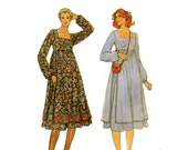 1980s Peasant Empire Apron Dress Pattern Storybook Costume Front and Back Panel Bust 32 34 36 Butterick 6264 Vintage Sewing Pattern