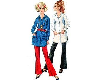 1960s Mod Pants and Top Pattern Bell Bottom Pants Mini Notched Collar Shirt Dress Simplicity 7906 Bust 32 Vintage Sewing Pattern