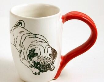 White and Red Stoneware Pouty Pug Mug