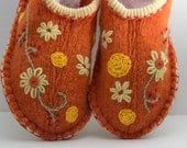 Tangerine wool womens upcycled slippers.