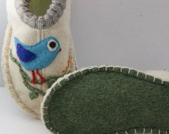 Womens wool slippers with applique birds from upcycled sweater.