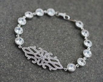 Wedding Jewelry Bridal Jewelry Bridal Bracelet Vintage Style Cubic Zirconia Bracelet Bridesmaids Gift Bridal Bracelet Bridesmaid Bracelet