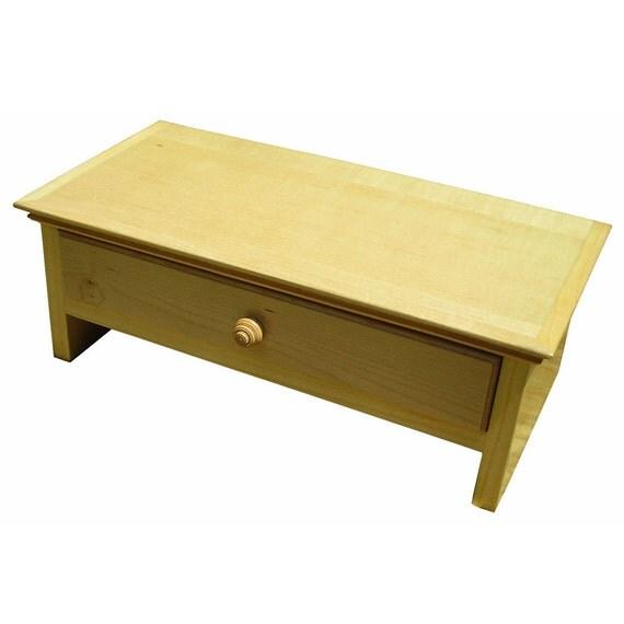Medium size wood monitor stand desk organizer with drawer in - Wood desk organizer with drawers ...