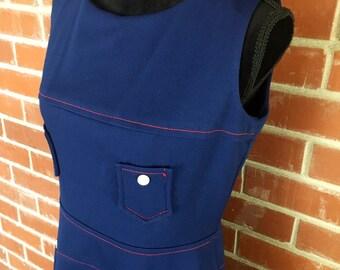 Mod blue a-line dress red topstitching