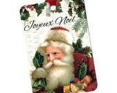 Christmas, Gift Tags, Santa Tags, Tags,French Santa Gift Tags, Joyeux Noel,