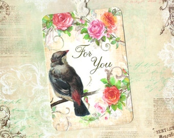 Gift Tags, Bird Tags, Bird & Roses, For You Tags