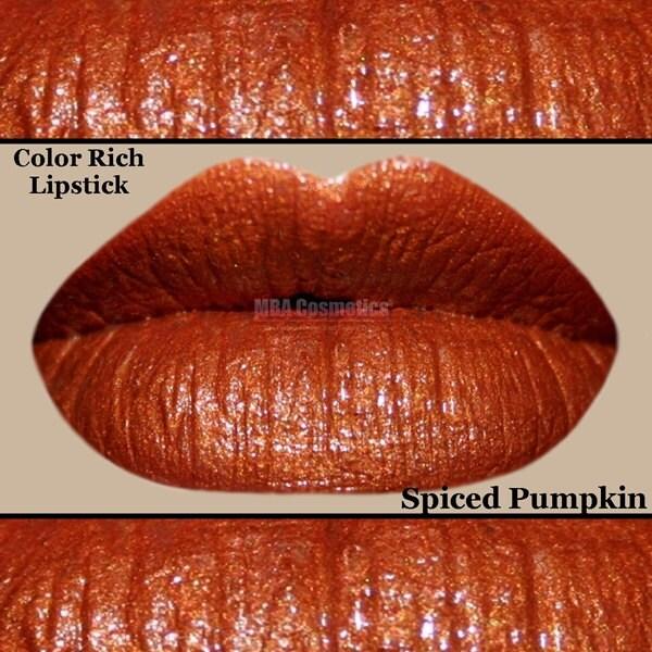 burnt orange color rich lipstick-spiced pumpkin