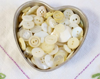 Vintage small white buttons lot of 25